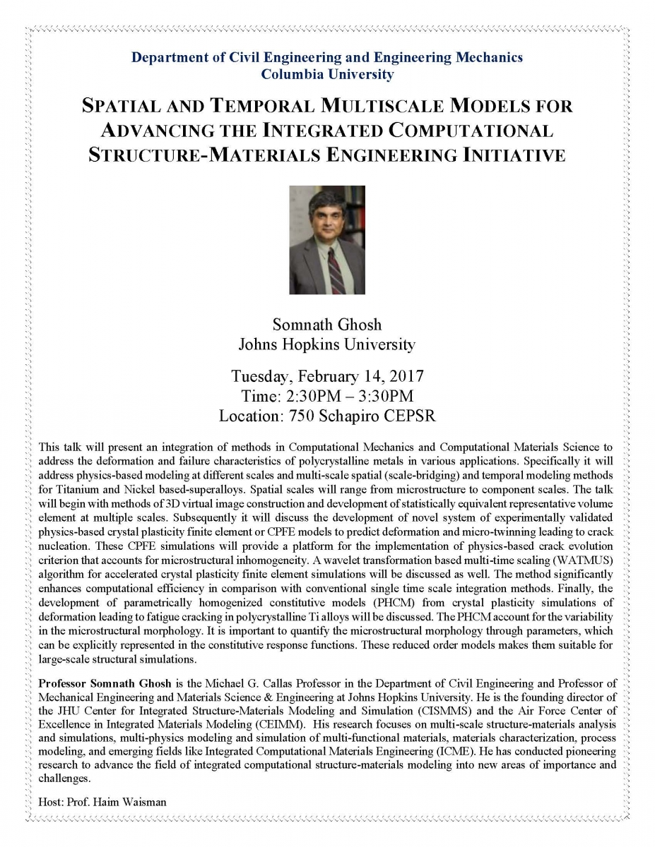 Spatial and Temporal Multiscale Models for Advancing the Integrated Computational Structure-Materials Engineering Initiative, presented by Somnath Ghosh, Johns Hopkinds University.