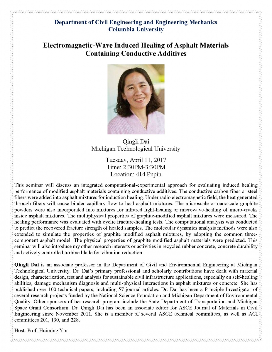 Electromagnetic-Wave Induced Healing of Asphalt Materials Containing Conductive Additives, presentation by Qingli Dai, Michigan Technological University