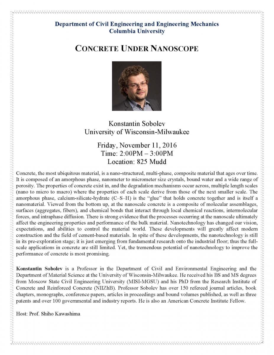 Concrete Under Nanoscope; seminar presented by Konstatin Sobolev, University of Wisconsin-Milwaukee