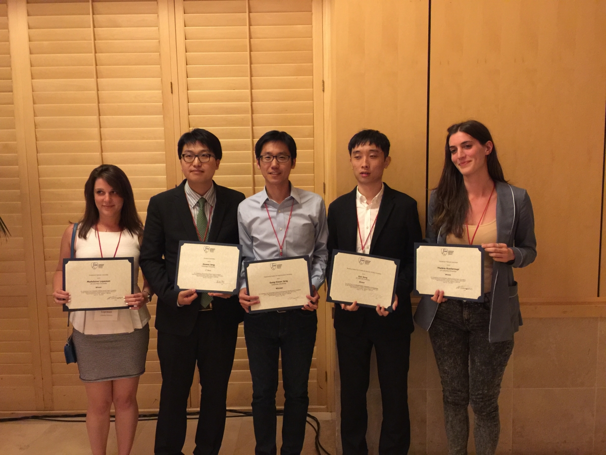 From left to right: Madeleine Lopeman, Jinwoo Jang, Sung-Hwan Jang, Gan Song, Thaleia Kontoroupi. Photo taken during the conference banquet where awards were announced.